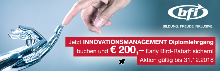 Early Bird Innovationsmanagement Diplomlehrgang | BFI Wien